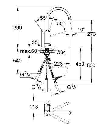 Смеситель для кухонной мойки Grohe Concetto New 32666001 металл