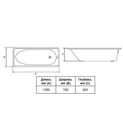 Стальная ванна ВИЗ Antika 150х70 без гидромассажа