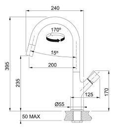 Смеситель для кухонной мойки Franke fluence 115.0352.510 хром