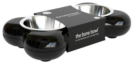 Двойная миска для кошек и собак Hing, пластик, сталь, черный, серебристый, 2 шт по 0.25 л