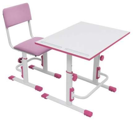 Детская растущая парта-трансформер Polini Kids Simple М1 75х55 см, Белый/Розовый