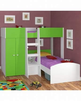 Двухъярусная кровать Golden Kids 4 белая/зеленая