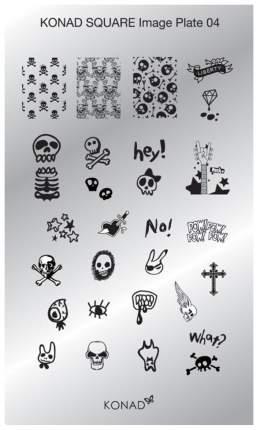 Трафареты для ногтей KONAD Пластина для стемпинга Square Image Plate 04