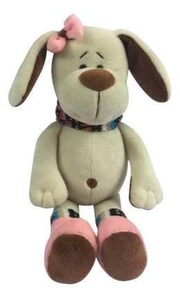 Мягкая игрушка Teddy Собака с розовым бантом, 17 см