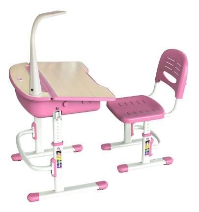 Комплект детской мебели Mealux Парта и стул EVO-02 с лампой розовый
