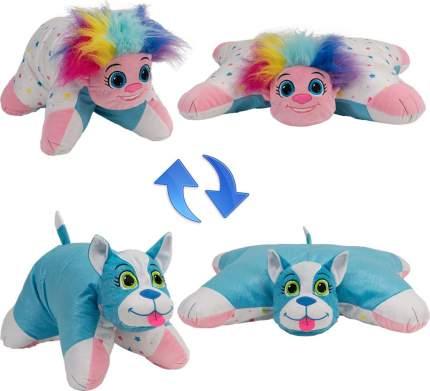 Подушка-игрушка Вывернушка 1Toy 2 в 1,Радужный Тролль-Блестящий Щенок Т12041