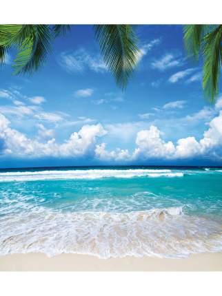 JoyArty Штора (занавеска) для ванной «Райский пляж» из ткани, 180х200 см с крючками