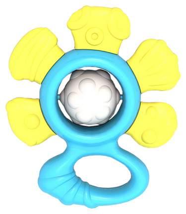 """577/2 Погремушка """"Цветочек"""" (в пакете с хэдером) жёлто-голубой"""