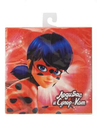 Салфетки бумажные ND Play Леди Баг и Супер-Кот красно-зеленые 12 штук