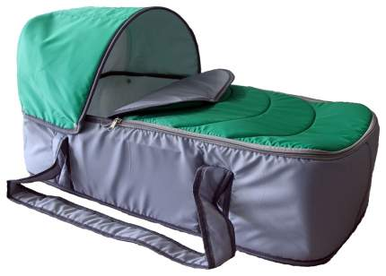 Люлька для коляски Карапуз Кокон зеленый, серый