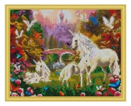 Алмазная мозаика Единороги на поляне, 40х50 см
