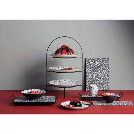 Тарелка десертная, 20см, Asa Selection Terrazzo, цвет черно-белый
