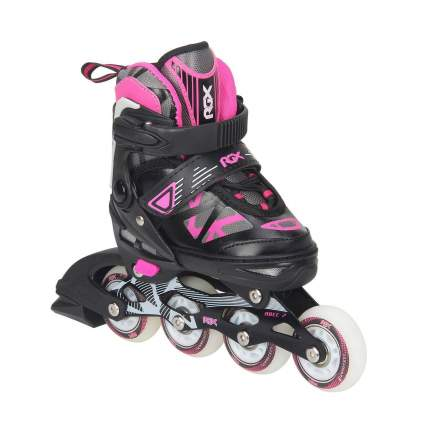 Раздвижные роликовые коньки RGX Mobilis Pink LED подсветка колес S 31-34