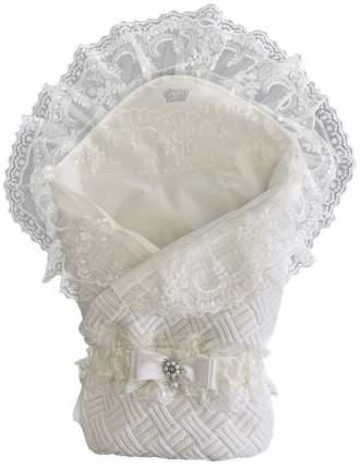 Конверт-одеяло вязанный на выписку + уголок с кружевом+ пояс на резинке, 300гр