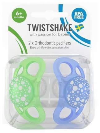 Пустышка Twistshake Pastel, цвет: синий и зеленый, 2 штуки (large)