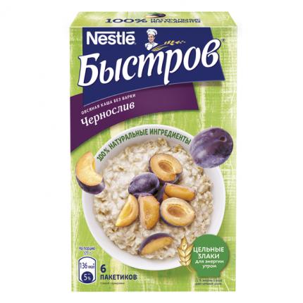 Каша овсяная Nestle Быстров с кусочками чернослива и овсяными отрубями 37 г 6 пакетов