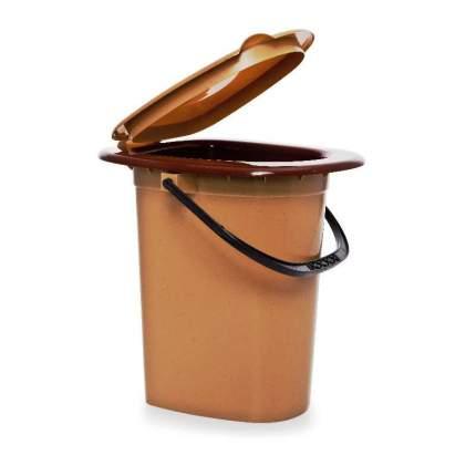 Ведро-туалет 16 л. пластиковый с крышкой и ручкой, коричневый с бежевым, 38,5х36х38см