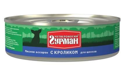 Консервы для щенков Четвероногий Гурман Мясное ассорти, кролик, 100г
