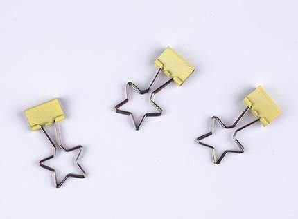 """Зажим для бумаг Coocla """"Звезда"""", желтый"""