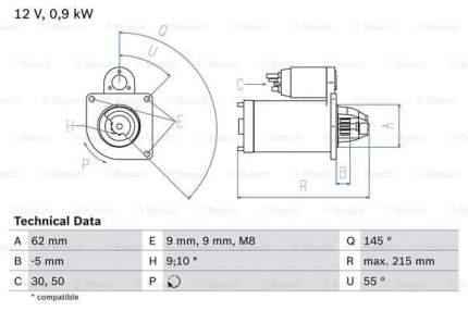 Стартер Bosch 0 986 013 850