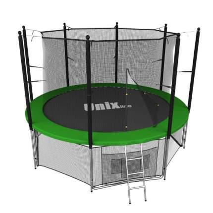 Батут Unix Line с сеткой и лестницей зеленый 244 см