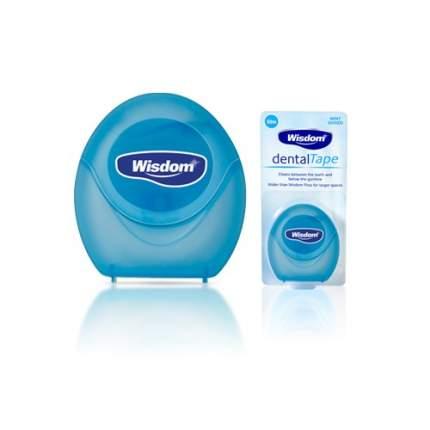 Зубная стомотологическая лента вощенаяWisdom Dental Tape мятный мягкий аромат 50м