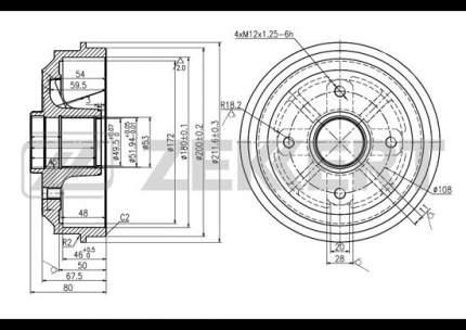 Тормозной барабан ZEKKERT BS-5091
