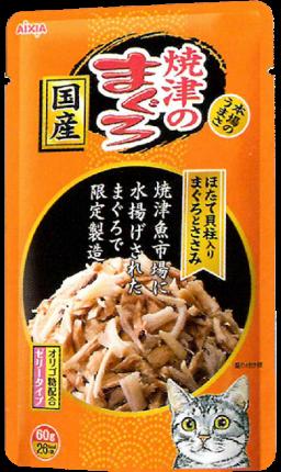 Влажный корм для кошек AIXIA «Yaizu-no-Maguro», тунец, куриное филе и гребешок в желе 60г