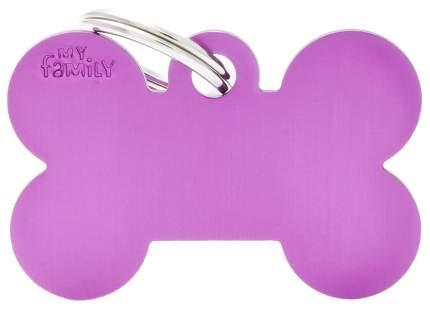 Адресник на ошейник для собак My Family Colors Косточка, большая, фиолетовая, 4 см