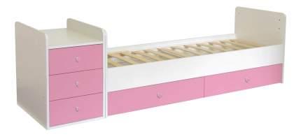 Кровать-трансформер Polini Simple 1100 белая/роза