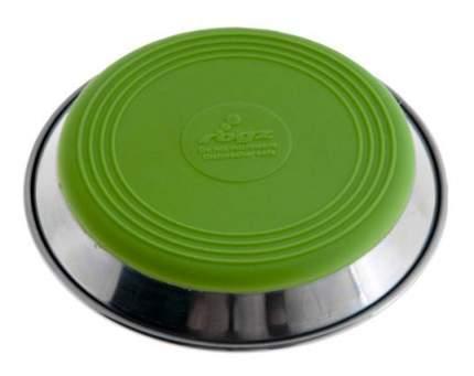 Одинарная миска для кошек Rogz, сталь, силикон, серебристый, зеленый, 0.2 л