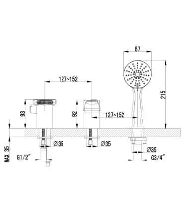 Смеситель для ванны на борт LEMARK Shift LM4345C хром