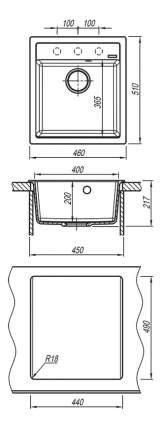 Мойка для кухни из мрамора Florentina Липси 460 антрацит