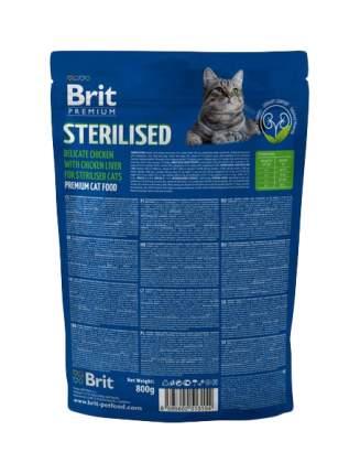 Сухой корм для кошек Brit Premium Sterilised, для стерилизованных, курица, печень, 0,8кг