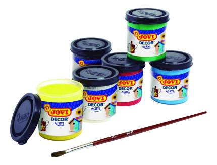 Художественные краски JOVI Акриловая краска 6 цветов х 55 мл с кистью