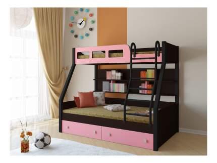 Двухъярусная кровать РВ мебель Рио каркас венге/черный розовая