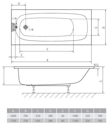 Акриловая ванна ALPEN Laura 160х70 без гидромассажа