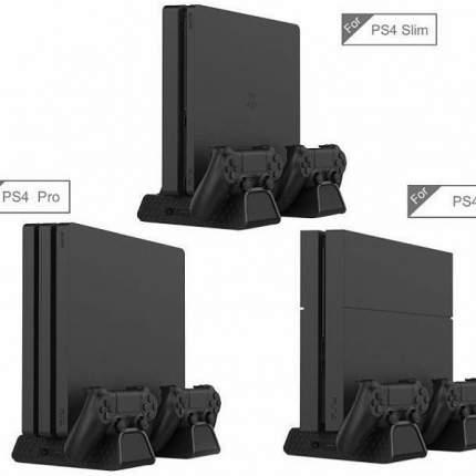 Вертикальная подставка с охлаждением + зарядка на 2 джойстика PS4 FAT/Slim/PRO