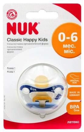 Латексная пустышка ортодонтическая NUK Classic Happy Kids синий р. 1