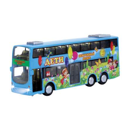 Автобус дети Технопарк двухэтажный инерционный, металлический со светом и звуком 16 см