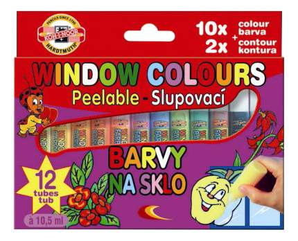 Витражные краски KOH-I-NOOR Набор красок для стекла 12 цветов