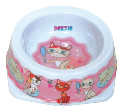 Одинарная миска для кошек DEZZIE, пластик, белый, розовый, 0.3 л