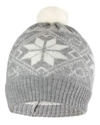 Шапка детская Norveg серая с белыми снежинками (текстильный помпон) 7CWU-053