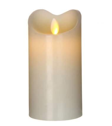 Светодиодная свеча восковая с живым пламенем, 15*8 см, бежевый, батарейка 372974