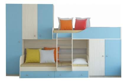 Двухъярусная кровать РВ мебель Лео дуб молочный/голубая