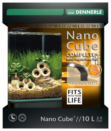 Нано-аквариум для рыб, креветок, растений Dennerle NanoCube Complete Plus Style LED S, 10л