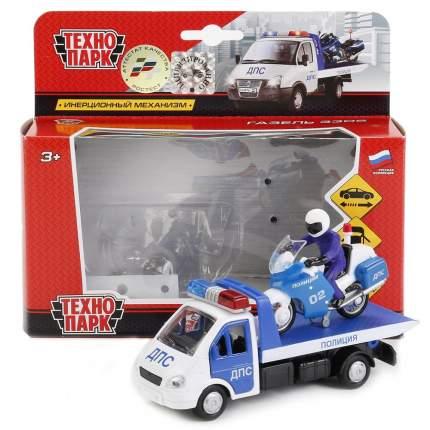 Набор машин Технопарк металл, Полиция: Газель эвак 12,5 см + Мотоцикл 7,5 см