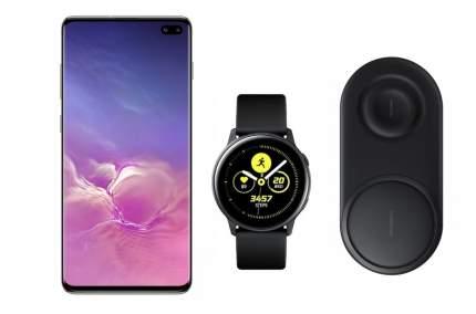 Смартфон Samsung Galaxy S10+ 128Gb Onyx+часы Watch Active+беспроводная зарядка EP-P5200
