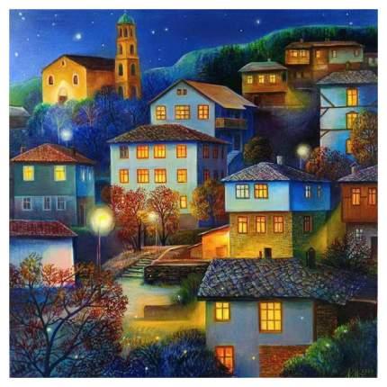 Холст с красками для рисования по номерам Рыжий Кот «Домики на холме» 30х40 см