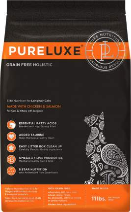 Сухой корм для кошек PureLuxe, беззерновой, для длинношерстных, с курицей и лососем, 5кг